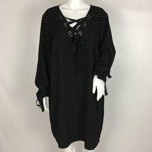 Michael Kors Black Shift Dress Black Grey Stars 2X